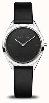 Bering Ultra-fino feminino | prata polida | pulseira de couro preto 17031-402