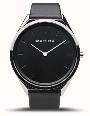 Bering Ultra-fino | prata polida | pulseira de couro preto 17039-402