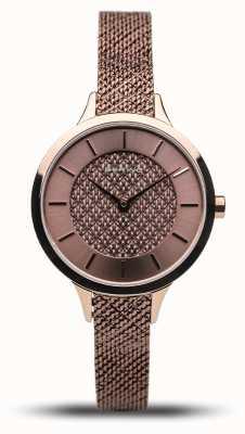 Bering Clássico das mulheres | rosa polida | pulseira de malha de ouro rosa 17831-265