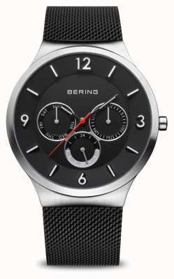 Bering Clássico dos homens | prata escovada | pulseira de malha preta 33441-102