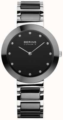 Bering Cerâmica feminina | pulseira de cerâmica preta | mostrador preto 11434-742