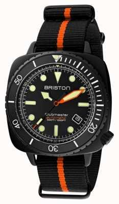 Briston Clubmaster diver pro | cinta OTAN preta / laranja | mostrador preto 20644.PBAM.B.35.NBO