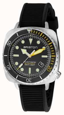 Briston Clubmaster diver pro steel | pulseira de borracha preta | mostrador preto 20644.S.DP.34.RB