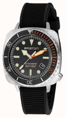 Briston Clubmaster diver pro steel | pulseira de borracha preta | mostrador preto 20644.S.DP.35.RB