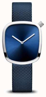 Bering Clássico | seixo | pulseira de malha azul | mostrador azul 18034-307