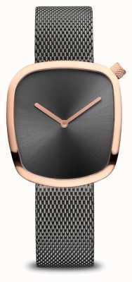 Bering Clássico | seixo | pulseira de malha cinza | mostrador cinza 18034-369