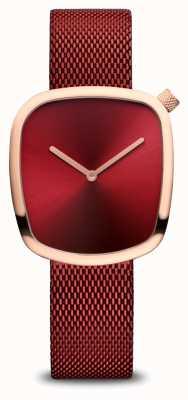 Bering Clássico | ouro rosa polido | malha vermelha 18034-363