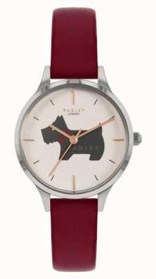 Radley Lugar Meridan | pulseira de couro vermelha | mostrador com motivo de cachorro RY2973