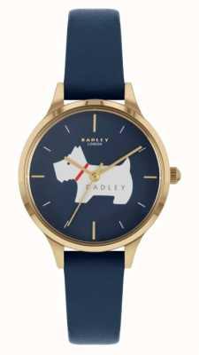 Radley Lugar Meridan | pulseira de couro azul | mostrador com motivo de cachorro RY2974