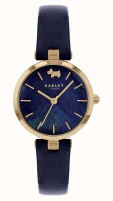 Radley Vista oeste | pulseira de couro da marinha | mostrador da marinha RY2972
