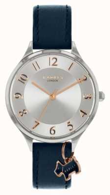 Radley Estrada saxônica | pulseira de couro da marinha | mostrador prateado RY2965