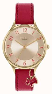 Radley Estrada saxônica   pulseira de couro vermelha   mostrador prateado RY2968