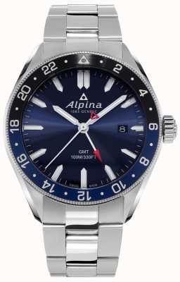 Alpina Alpiner quartz gmt | mostrador azul | pulseira de aço inoxidável AL-247NB4E6B