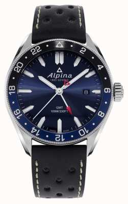 Alpina Alpiner quartz gmt | mostrador azul | pulseira de couro preta AL-247NB4E6