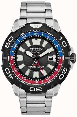 Citizen Mergulhador promaster masculino gmt | mostrador preto de aço inoxidável | sotaque azul e vermelho BJ7128-59E