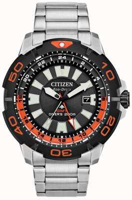 Citizen Mergulhador promaster masculino gmt | aço inoxidável | mostrador preto | sotaque laranja BJ7129-56E