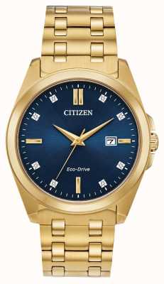 Citizen Relógio masculino corso eco-drive diamante ouro ip azul com mostrador BM7103-51L