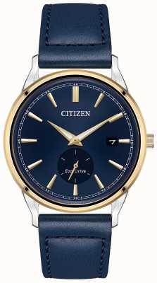 Citizen Relógio masculino com pulseira eco-drive de aço inoxidável ouro ip azul com pulseira de couro BV1114-18L