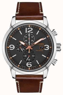 Citizen Relógio masculino com pulseira de couro marrom esporte eco-drive CA0618-26H