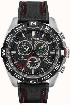 Citizen Rádio Mens Promaster Navihawk controlado em crono preto mostrador em couro preto CB5841-05E