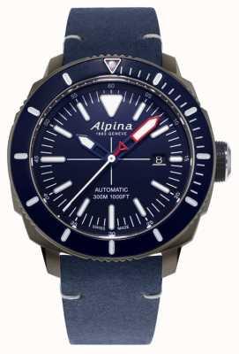 Alpina Seastrong diver 300 automatic | pulseira de couro azul marinho | AL-525LNN4TV6