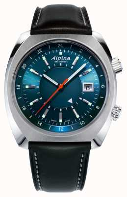 Alpina Auto herança piloto Startimer | pulseira de couro preta | AL-555N4H6