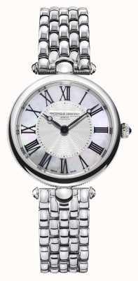 Frederique Constant Arte déco das mulheres | pulseira de aço inoxidável | madrepérola FC-200MPW2AR6B