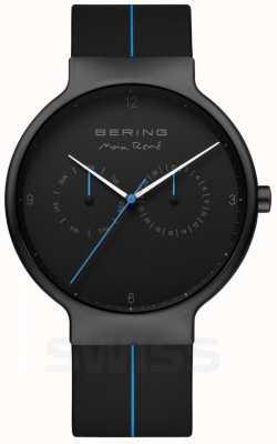 Bering Rene max masculino | pulseira de silicone preta | mostrador preto / azul 15542-428