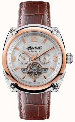Ingersoll The michigan | homens | pulseira de couro marrom | mostrador branco I01103B