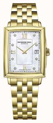 Raymond Weil Tocata feminina | pulseira banhada a ouro pvd | mostrador com conjunto de diamante 5925-P-00995