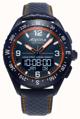 Alpina Pulseira de couro azul marinho smartwatch Alpinerx AL-283LNO5NAQ6L