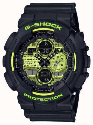 Casio G-shock | camuflagem digital | resina preta GA-140DC-1AER