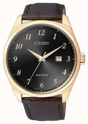 Citizen Relógio masculino com pulseira de couro marrom ip marrom eco drive BM7323-11E
