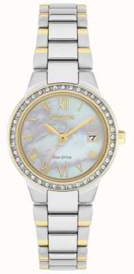 Citizen Relógio feminino de cristal eco-drive de dois tons em madrepérola EW1994-57N