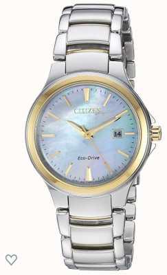 Citizen Relógio ip madrepérola de aço inoxidável e ouro rosa silhueta feminina eco-drive EW2524-55N