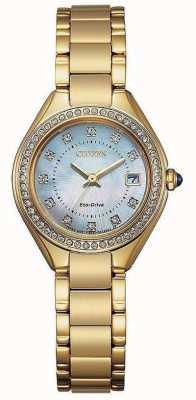 Citizen Relógio de madrepérola com ip de ouro de cristal silhueta feminina EW2552-50D