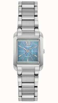 Citizen Relógio de madrepérola quadrado para senhoras l eco-drive EW5551-56N