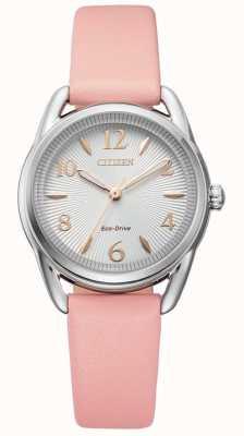 Citizen Relógio feminino de couro rosa eco-drive FE1210-07A