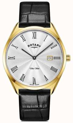 Rotary Ultra slim masculino | caixa folheada a ouro pvd | pulseira de couro preta GS08013/01