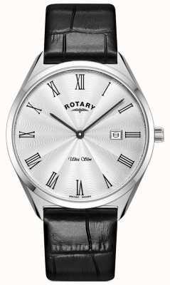 Rotary Ultra slim masculino | pulseira de couro preta | mostrador prateado GS08010/01