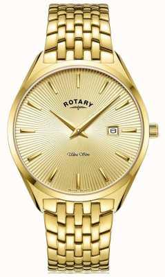 Rotary Ultra slim masculino | pulseira de aço banhado a ouro | mostrador de ouro GB08013/03