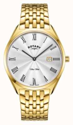 Rotary Ultra slim masculino | pulseira de aço banhado a ouro | mostrador prateado GB08013/01