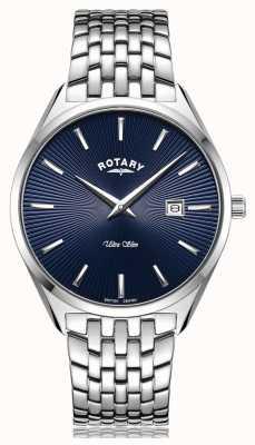 Rotary Relógio ultrafino com mostrador azul prata GB08010/05