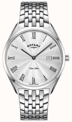 Rotary Relógio ultrafino de prata em aço inoxidável GB08010/01