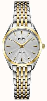 Rotary Relógio ultrafino com pulseira de dois tons para senhora LB08011/02