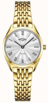 Rotary Ultra slim feminino | relógio de aço banhado a ouro | mostrador prateado LB08013/01
