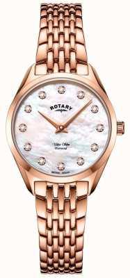 Rotary Relógio ultrafino feminino com pulseira em ouro rosa LB08014/41/D