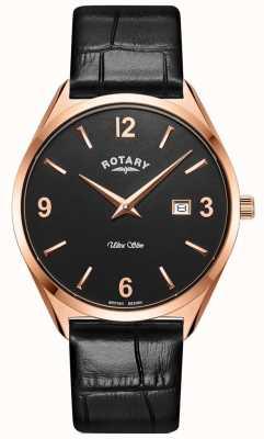Rotary Ultra slim masculino | pulseira de couro preta | caixa pvd ouro rosa GS08014/04