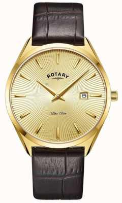 Rotary Ultra slim masculino | pulseira de couro marrom | caixa banhada a ouro pvd GS08013/03