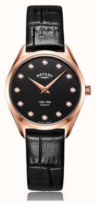 Rotary Relógio ultrafino de diamantes em ouro rosa para senhora LS08014/04/D